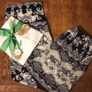Pants - Navy & White Drawstring Elephant Print Boho Pants